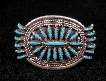 Image 0 of Zuni Turquoise Needlepoint Cluster Silver Bracelet, Gerald Etsate