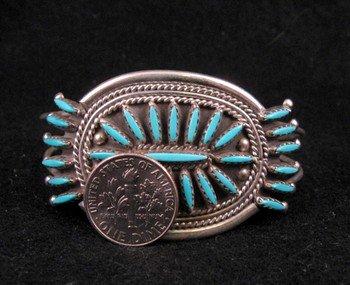 Image 1 of Zuni Turquoise Needlepoint Cluster Silver Bracelet, Gerald Etsate