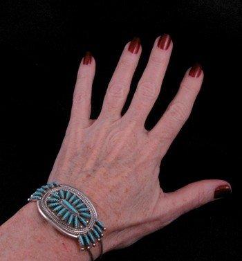 Image 2 of Zuni Turquoise Needlepoint Cluster Silver Bracelet, Gerald Etsate