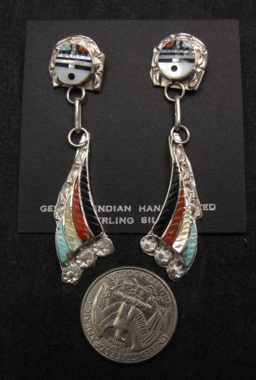Image 1 of Zuni Inlaid Sunface Silver Dangle Earrings, Eldred Martinez