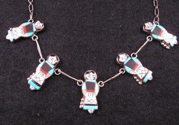 Zuni Native American Turquoise Indian Maiden Necklaces, Joyce Waseta