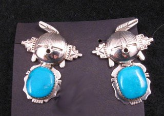 Hopi Maiden Turquoise Silver Kachina Earrings, Nelson Morgan, Navajo