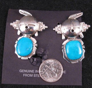 Image 1 of Hopi Maiden Turquoise Silver Kachina Earrings, Nelson Morgan, Navajo