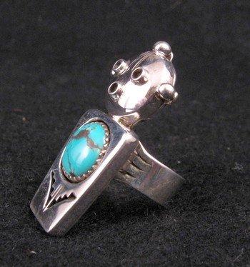 Image 1 of Nelson Morgan Navajo Turquoise Silver Mudhead Ring sz6-1/2