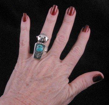 Image 2 of Nelson Morgan Navajo Turquoise Silver Mudhead Ring sz6-1/2