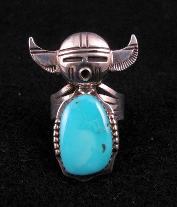 Nelson Morgan Navajo Turquoise Buffalo Kachina Ring sz8