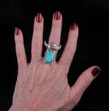 Image 1 of Nelson Morgan Navajo Turquoise Buffalo Kachina Ring sz8