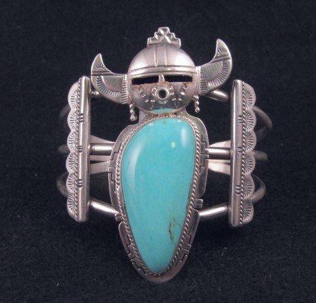 Nelson Morgan Navajo Turquoise Silver Kachina Bracelet