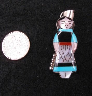 Medium Zuni Turquoise Indian Maiden Pendant, Joyce Waseta