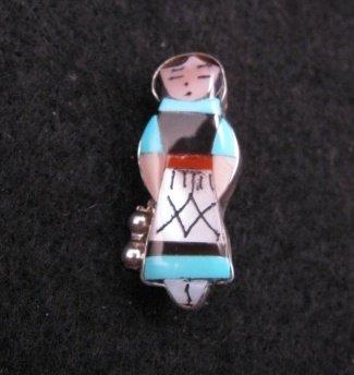 Small Zuni Turquoise Indian Maiden Pin/Pendant, Joyce Waseta