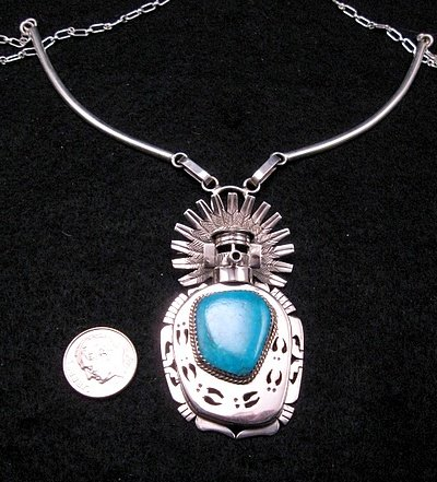 Image 1 of Indian Turquoise Kachina Pin Pendant Necklace, Nelson Morgan Navajo