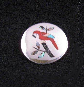 Sanford Edaakie Zuni Inlaid Macaw Parrot Pin & Pendant