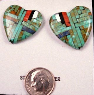 Image 0 of Native American Inlaid Heart Earrings by Joe Reano, Santo Domingo