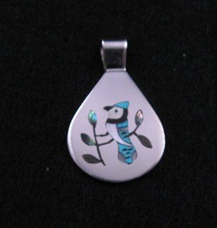 Image 0 of Zuni Inlaid Blue Jay Bird Silver Pendant, Sanford Edaakie
