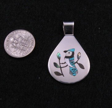 Image 1 of Zuni Inlaid Blue Jay Bird Silver Pendant, Sanford Edaakie