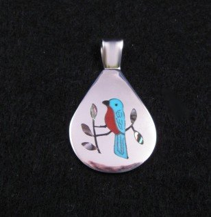 Image 0 of Zuni Multigem Inlaid Blue Bird Pendant, Sanford Edaakie