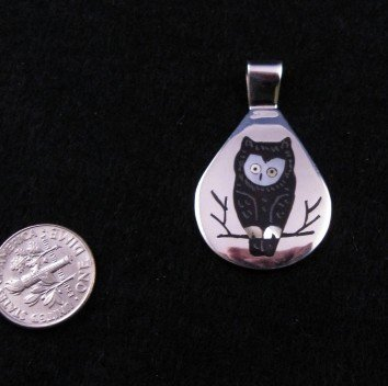 Image 0 of Zuni Multigem Inlay Owl Pendant, Sanford Edaakie