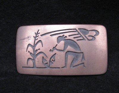 Vintage Hopi Silver Overlay  Buckle, Verden Mansfield