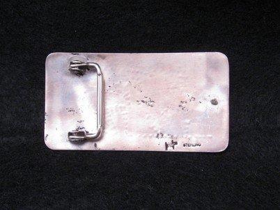 Image 2 of Vintage Hopi Silver Overlay  Buckle, Verden Mansfield
