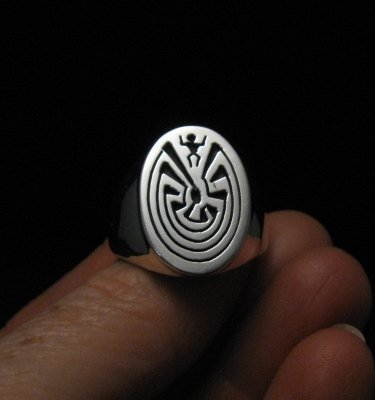 Native American Sterling Silver Man in the Maze Ring sz10-1/2