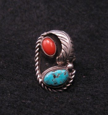 Vintage Navajo Turquoise & Coral Silver Ring sz5