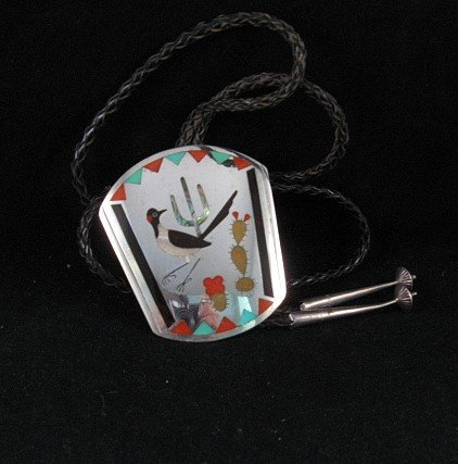 Image 2 of Vintage 1965-70  Zuni ~ Dennis & Nancy Edaakie ~ Inlay Roadrunner Bolo