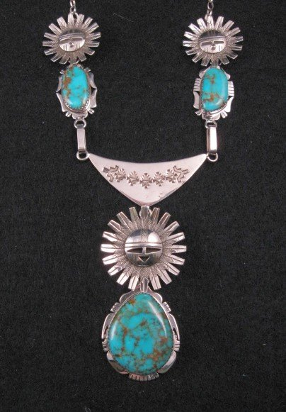 Native American Sun Kachina Turquoise Necklace by Navajo, Nelson Morgan
