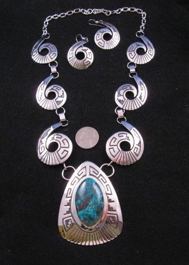 Image 0 of Navajo Royston Turquoise Silver Swirl Necklace & Earrings -Everett & Mary Teller