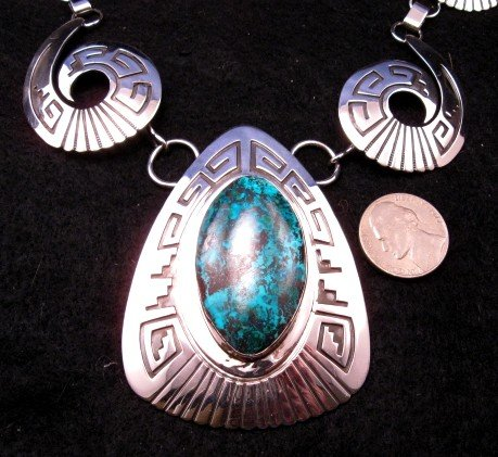 Image 1 of Navajo Royston Turquoise Silver Swirl Necklace & Earrings -Everett & Mary Teller
