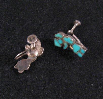 Image 1 of Vintage Zuni Turquoise Inlay Rainbow Man Earrings
