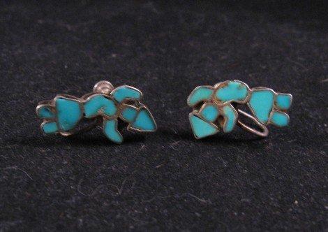Image 2 of Vintage Zuni Turquoise Inlay Rainbow Man Earrings