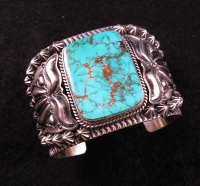 Image 4 of Darryl Becenti Navajo Turquoise Sterling Silver Cuff Bracelet