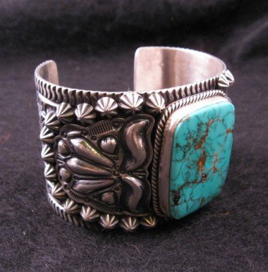 Image 3 of Darryl Becenti Navajo Turquoise Sterling Silver Cuff Bracelet