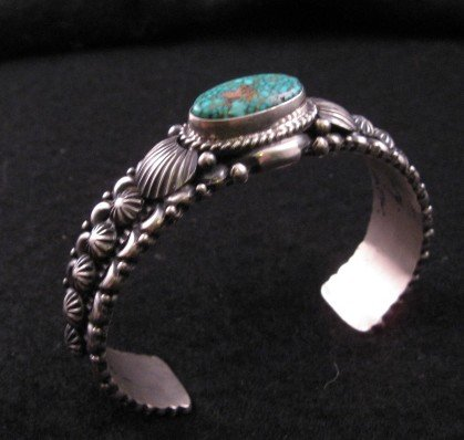 Image 2 of Navajo Turquoise Silver Bracelet, Darryl Becenti RIP