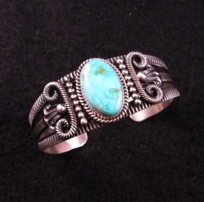 Old Pawn Style Turquoise Silver Bracelet by Navajo Delbert Gordon