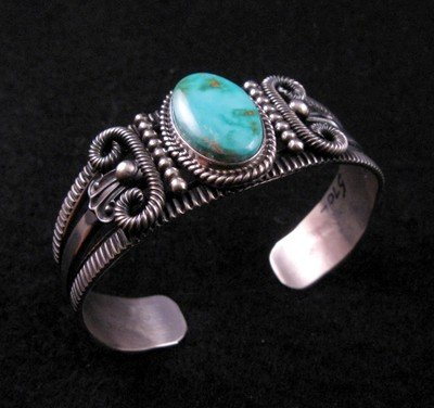 Image 1 of Old Pawn Style Turquoise Silver Bracelet by Navajo Delbert Gordon