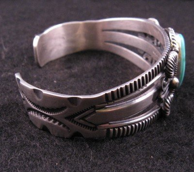 Image 2 of Old Pawn Style Turquoise Silver Bracelet by Navajo Delbert Gordon