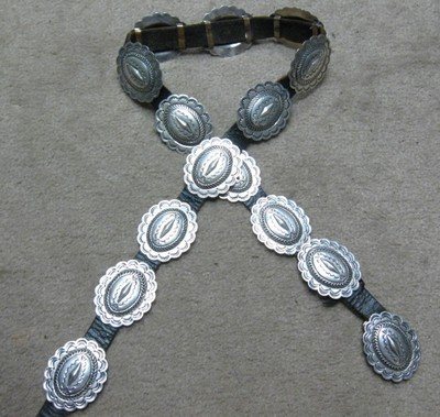 Navajo Dead Pawn Sterling Silver Concho Belt