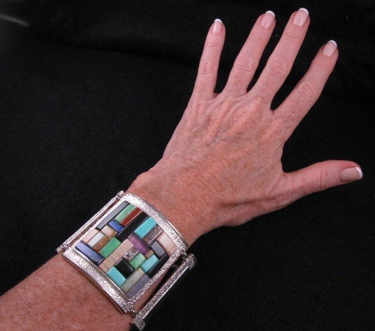 Image 0 of Hopi Inlay * Warrior Woman * Bracelet, Bennard & Frances Dallasvuyaoma