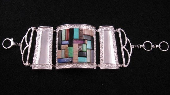 Image 4 of Hopi Inlay * Warrior Woman * Bracelet, Bennard & Frances Dallasvuyaoma