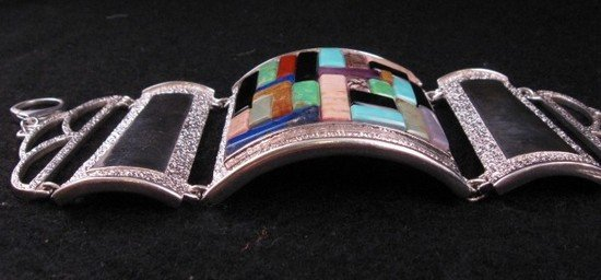 Image 6 of Hopi Inlay * Warrior Woman * Bracelet, Bennard & Frances Dallasvuyaoma