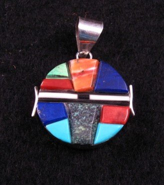 Reversible Double-sided Inlaid Pendant  * Edison Yazzie * Navajo