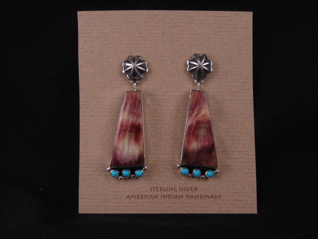 Image 0 of Navajo Turquoise Spiny Oyster Earrings, La Rose Ganadonegro