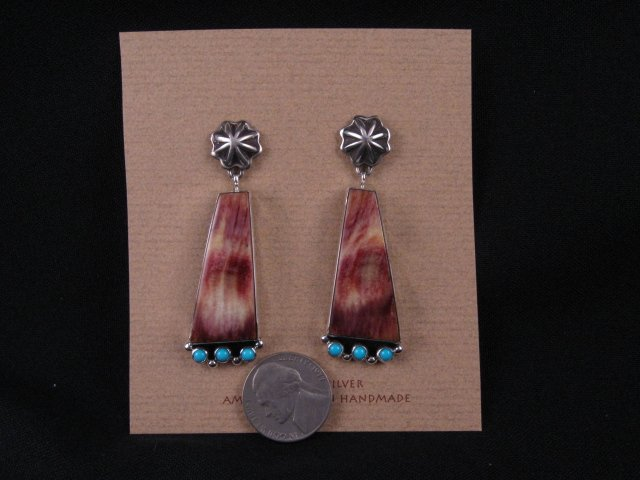 Image 1 of Navajo Turquoise Spiny Oyster Earrings, La Rose Ganadonegro