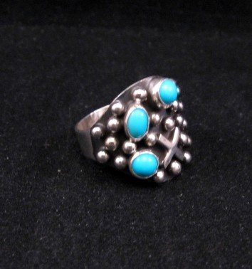 Image 1 of Navajo ~ Ronnie Willie ~ Turquoise Silver Ring sz9