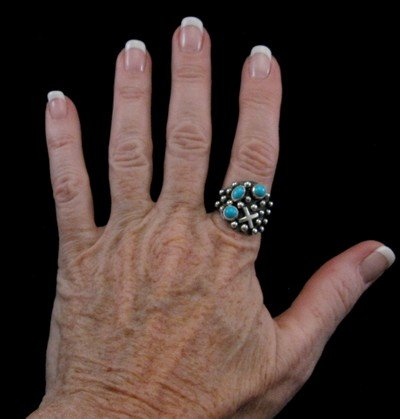 Image 2 of Navajo ~ Ronnie Willie ~ Turquoise Silver Ring sz9