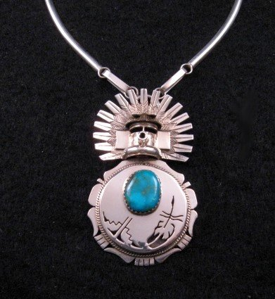 Navajo Turquoise Kachina Pin Pendant 20 Necklace, Nelson Morgan