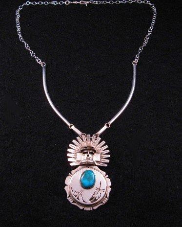 Image 1 of Navajo Turquoise Kachina Pin Pendant 20