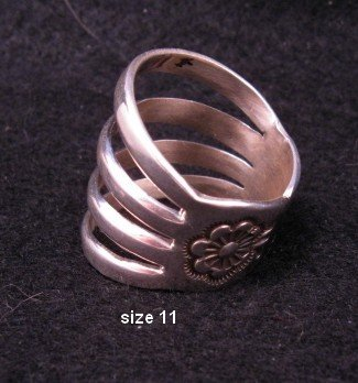Navajo 4-Way Split Band Ring sz11, Wilbur Benally