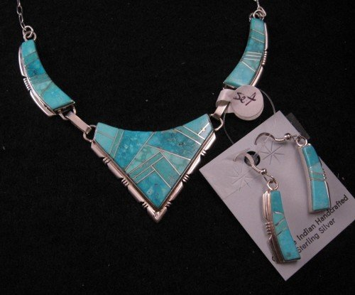 Image 0 of Turquoise Inlay Necklace & Earrings Set by Navajo Tom Shirley